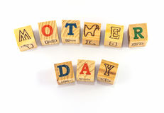 Mother day in wooden block Royalty Free Stock Photo