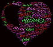 Mother day word cloud. Mother`s day heart word cloud Royalty Free Stock Photography