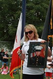 Mother of deceased Marine speaks at the Save Our Cross Rally, Knoxville, Iowa. Mother of deceased Marine with his picture at the Save Our Cross Rally, Knoxville Stock Photo