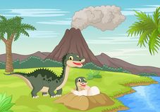 Mother dinosaur with baby hatching Stock Images