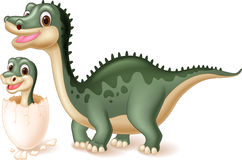 Mother dinosaur with baby hatching Stock Image
