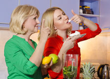 Mother disapproves her daughter quitting diet stock photography