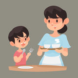 Mother dish up her son. Mother dish up her son with food, Vector illustration Stock Photos