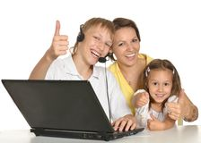 Mother doing homework with son and daughter Royalty Free Stock Photography