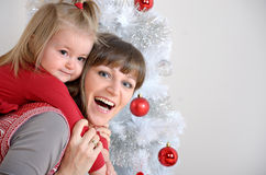 Mother and doughter christmas Stock Photo