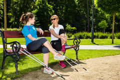 Mother and doughter nordic walking Stock Images