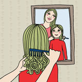 Mother and doughter, sisters brushing hair. This is file of EPS8 format Stock Photos