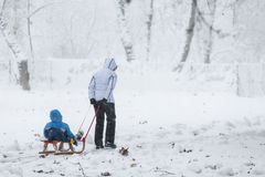 Mother dragging the snow sled with her child behind Royalty Free Stock Photo