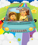A mother driving with her daughter royalty free illustration