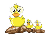 Mother duck and her ducklings  cartoon Royalty Free Stock Photo