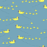 mother ducks and ducklings seamless pattern Stock Image