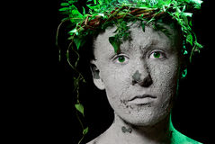 Mother earth. Mother Earth portrait. Black background. Studio shot stock photography