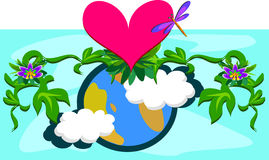 Mother Earth with Plants and a Huge Heart Royalty Free Stock Photography