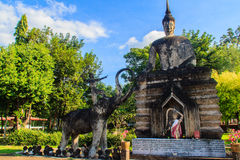Mother Earth with Thai descriptions at Sala Keoku, the park of g Royalty Free Stock Photo
