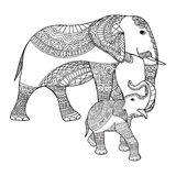 Mother elephant and baby elephant. Black and white doodle print with ethnic patterns. Stock Images