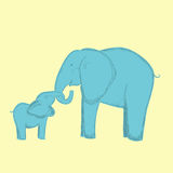 Mother elephant and baby elephant hugs the trunk. Stock Photos