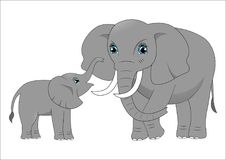 Mother elephant and baby elephant vector illustration