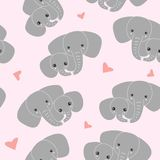 Mother elephant with kid on pink background. Pattern of elephant family royalty free illustration