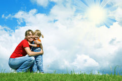 Mother embrace little daughter Royalty Free Stock Image