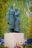 Mother embraces the soldiers son. A monument to the Soviet soldiers in the Oryol region. Royalty Free Stock Photography