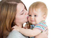 Mother embracing baby boy  on white Royalty Free Stock Photos