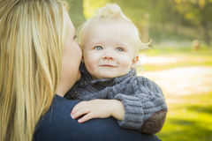 Mother Embracing Her Adorable Blonde Baby Boy Royalty Free Stock Photos