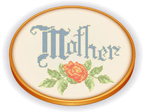 Mother Embroidery, Rose Cross Stitch, wood hoop. Retro oval wood embroidery hoop with vintage needlework sewing design, Mother with rose cross stitch, isolated Vector Illustration