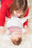 Mother enjoying time with newborn daughter Royalty Free Stock Photos