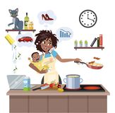 Mother failed at doing many thing at once stock illustration