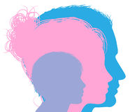Mother father and child silhouettes. Man woman and child faces in profile Royalty Free Stock Image