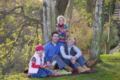 Mother, father and daughters having picnic outdoors Stock Photos