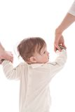 Mother and father guide his baby boy Stock Photography