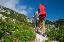 Mother and father hike with baby boy Royalty Free Stock Photography