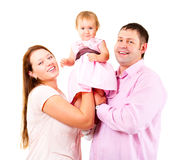 Mother, father and little daughter - happy family Stock Images
