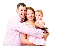 Mother, father and little daughter - happy family Royalty Free Stock Photos