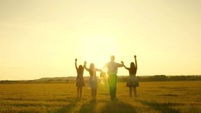 Mother, father and little daughter with sisters walking in field in the sun. Happy young family. Children, dad and mom stock footage