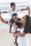 Mother Father Parents Boy Children Family Beach Fun Stock Photo