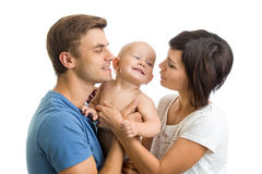 Mother and father playing with cute baby son Royalty Free Stock Photos