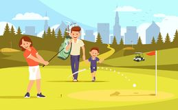 Mother, Father and Son at Golf Field. Leisure Time