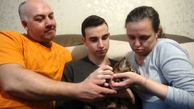 Mother father and son playing with a cat,a happy family.  stock video footage