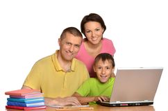 Mother father and son studying Royalty Free Stock Photos