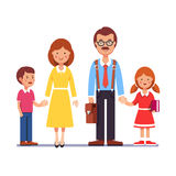 Mother and father with their children. Family husband and wife standing with kids holding hands boy and girl. Mother and father with their children. Colorful Royalty Free Stock Images