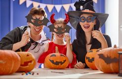 Family preparing for Halloween. Stock Photography