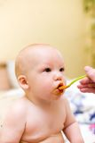 Mother feed baby by mashed melon Royalty Free Stock Photography