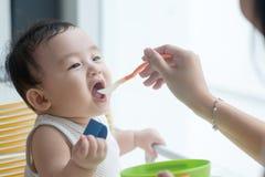Mother feeding baby boy. Stock Photo