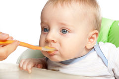 Mother feeding baby food Stock Images