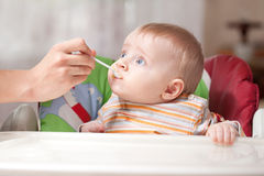 Mother feeding baby food to baby Royalty Free Stock Photography