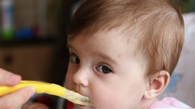 Mother feeding baby girl stock footage