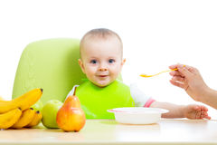 Mother feeding baby girl Royalty Free Stock Images