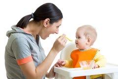 Mother feeding baby girl Royalty Free Stock Photo